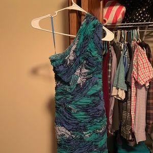 One shoulder dress.